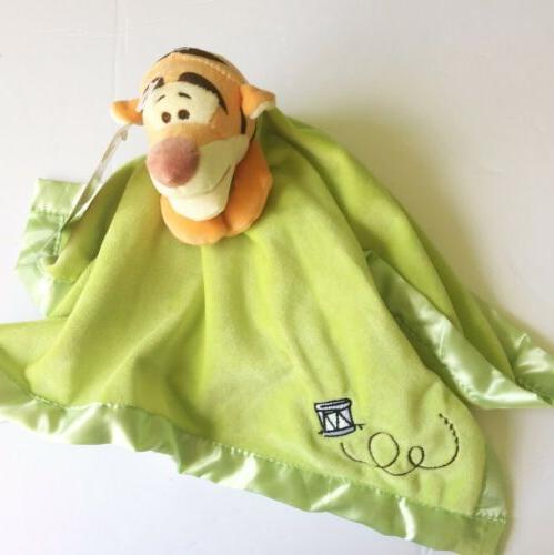 Disney Tigger Green Satin Security Blanket Lovey NEW
