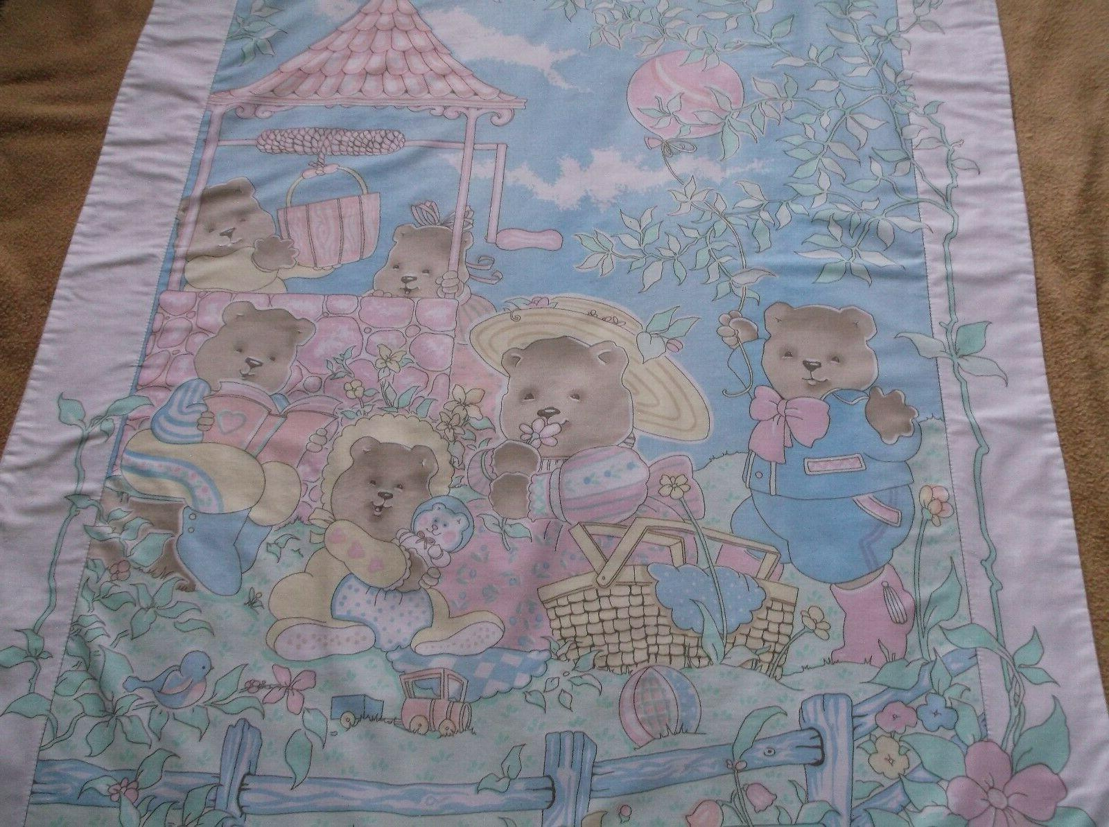 Baby Nursery Bedding Blanket Bear Family Picnic NHM Pastel Colors