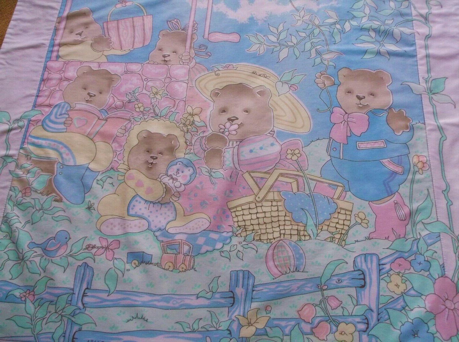 Baby Toddler Blanket Bear NHM Pastel Colors