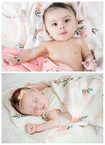 """Bamboo - 2 Pack""""Floral & Flamingo Print"""" Swaddle Wrap Gift Little"""