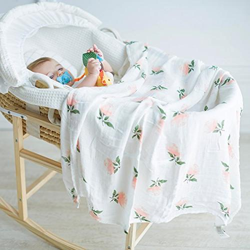 """Bamboo Muslin Swaddle Blankets Flamingo Print"""" Baby Swaddle Wrap for Girl Gift by"""