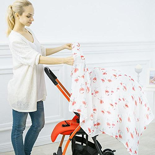Bamboo Blankets - 2 Flamingo Baby Wrap Shower Gift by Little Jump