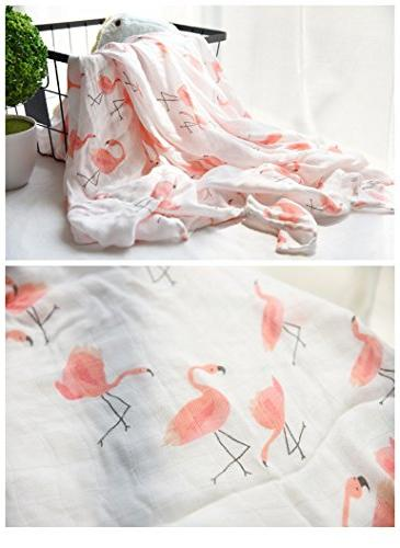 """Bamboo Muslin Swaddle - & Flamingo Print"""" Wrap for Gift by"""