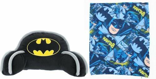 Batman Bed Rest Back Pillow and Fleece Throw Blanket Set - D