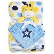 Baby Blanket Set Giraffe Security Blanket with Blue and Yell