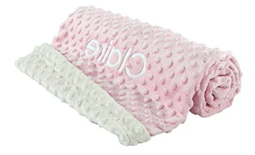 Large Baby Blankets Ultra Soft Mink Shower Gift, Pink Ivory Customized Girl berry