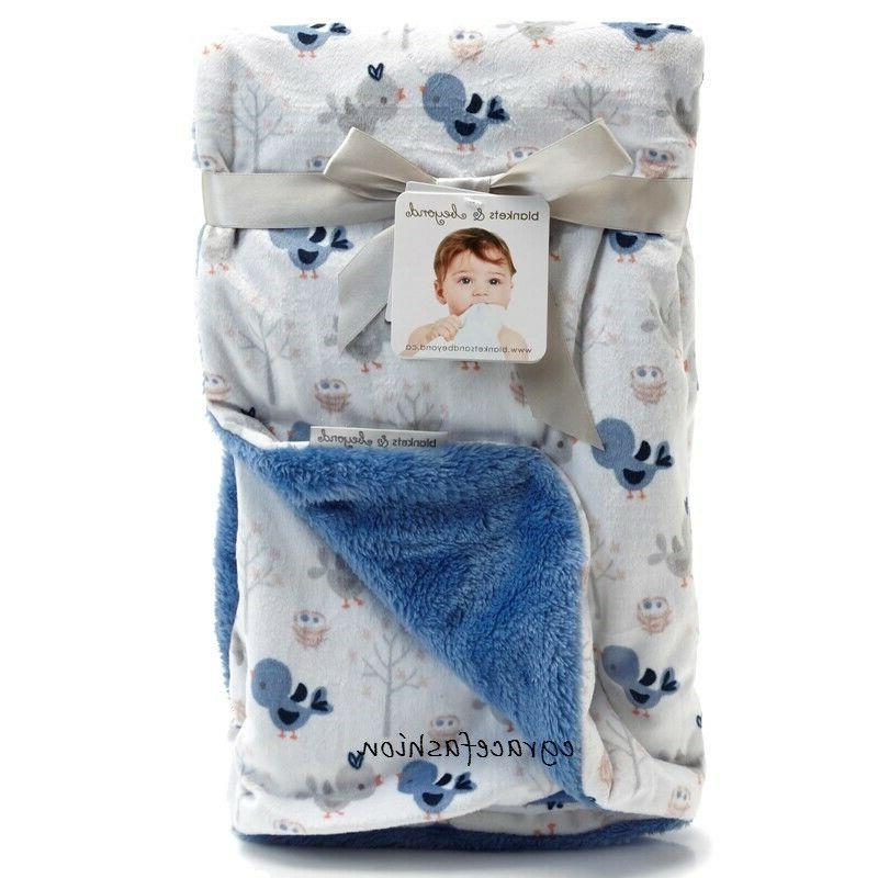 Blankets & and Beyond Baby Boy Layette Blue Birds Owl Sherpa