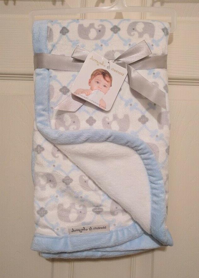 Blankets & and Beyond Baby Boy Layette Blue Damask Elephant