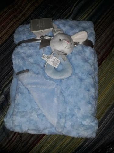 Blankets And Beyond Baby Blanket Blue Rattle Rabbit Set Nwt