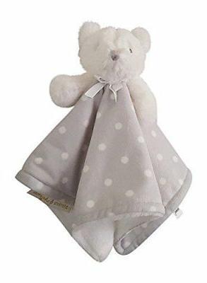 Blankets & Beyond Bear White with Gray Polka Dot Blanket Nun