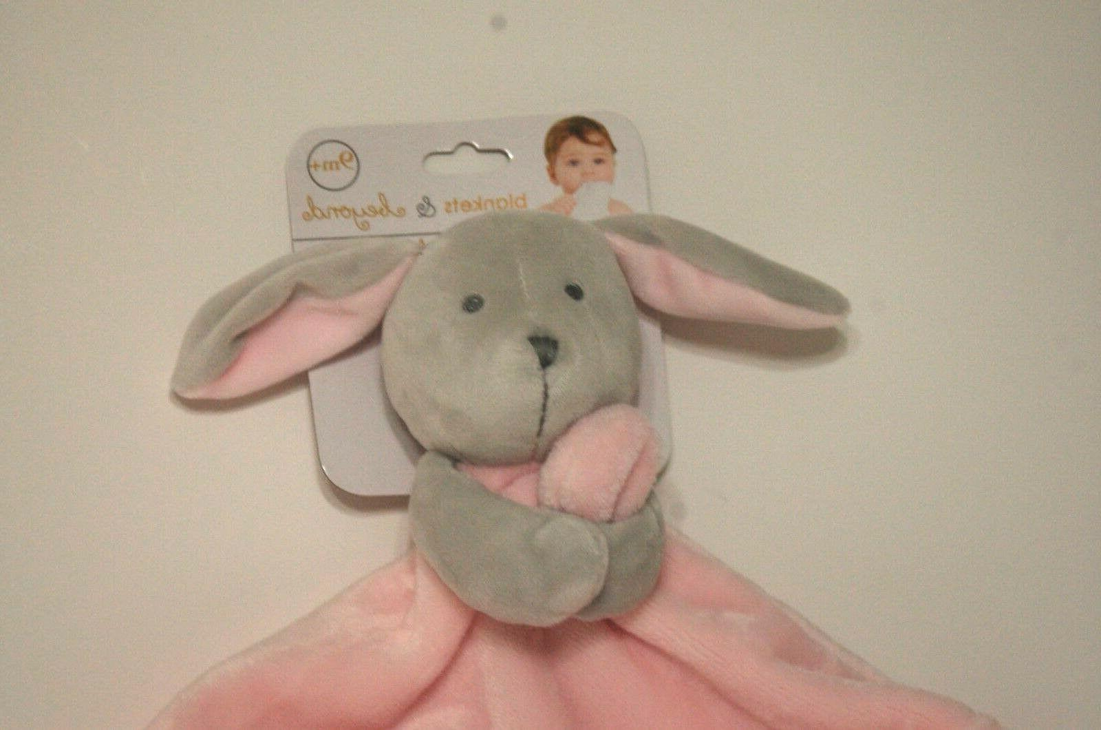 Blankets and Beyond Bunny Lovey Security Blanket Gray and Pi