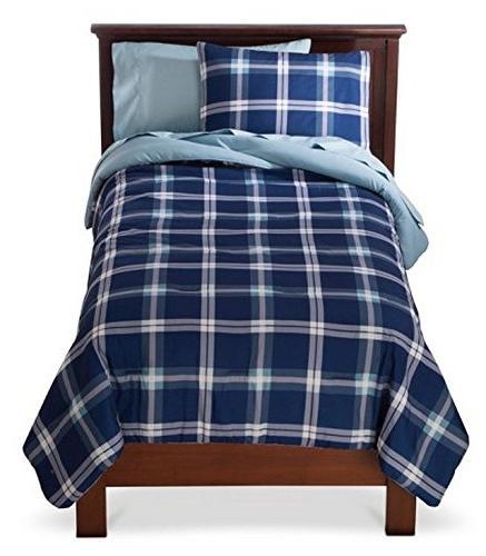blue plaid bed set