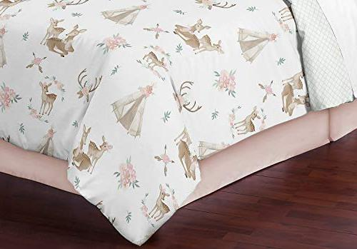 Sweet Jojo Pink, Mint White Boho Deer Floral Girl Kid Teen Set-3 Pieces