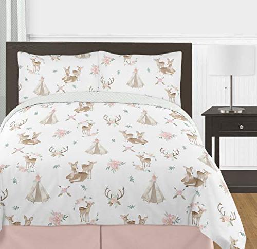 Sweet Pink, Mint Green White Boho Deer Floral Girl Full/Queen Kid Comforter Set-3