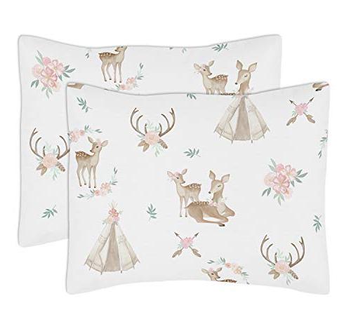 Pink, Mint White Deer Floral Full/Queen Kid Teen Bedding Comforter Set-3