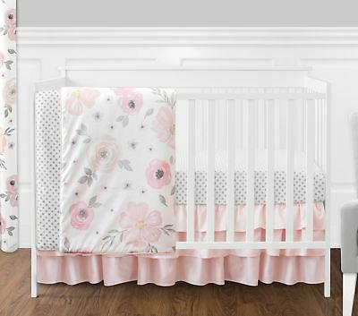 4 pc. Blush Pink, Grey and White Watercolor Floral Baby Girl