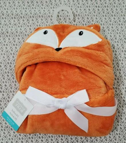 boy hooded plush blanket orange fox