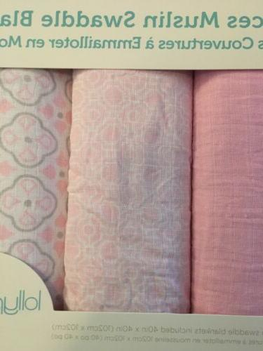 Lollypop Muslin Blankets Pink, White, Grey