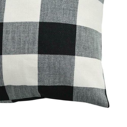 TEALP Check Pillow Cover 18''x18'', of Black White