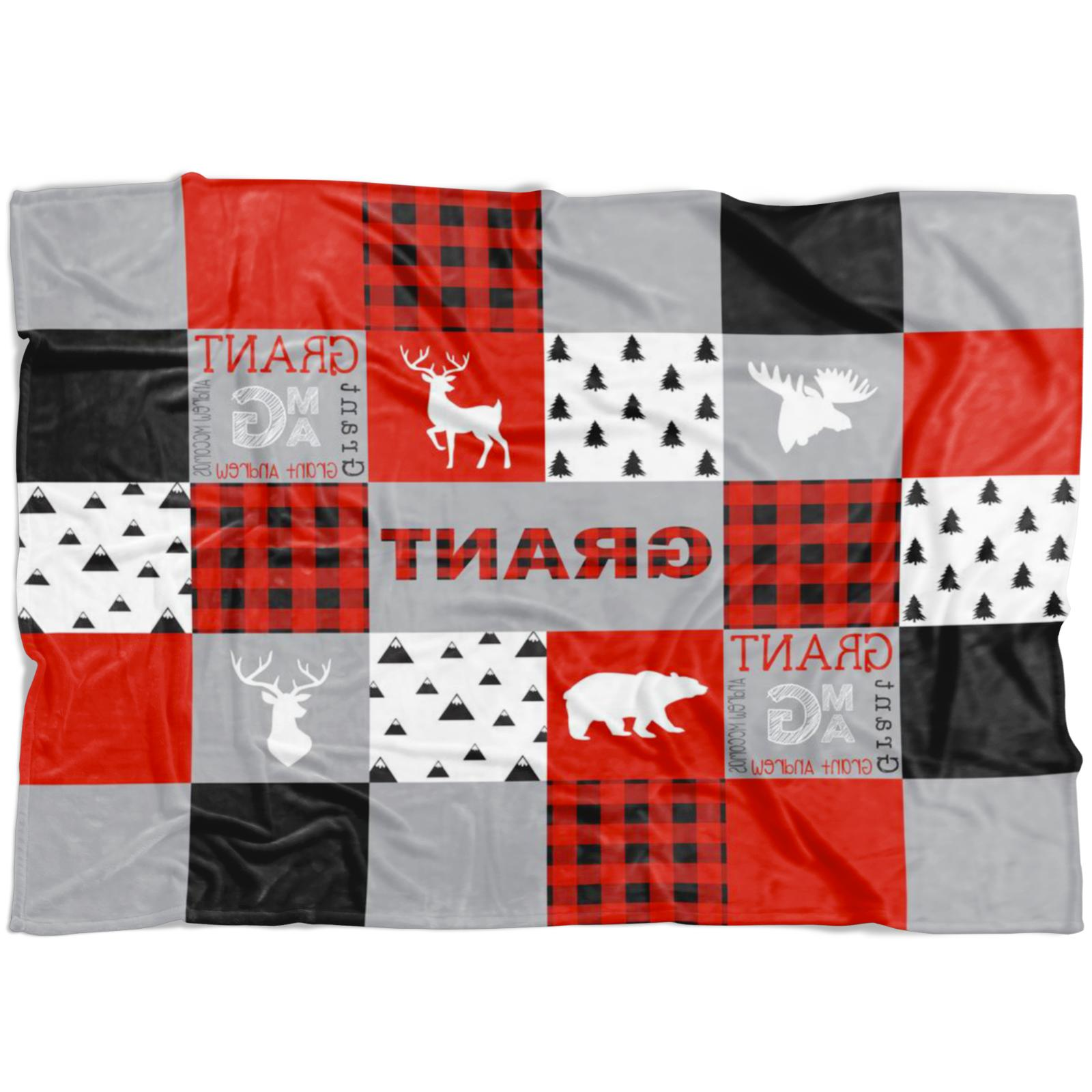 buffalo plaid personalized baby blanket woodland deer
