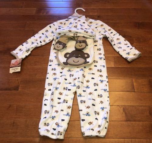 Carter's Infant Boy Monkey 4 Pc Layette New 9 Months Hat Cov