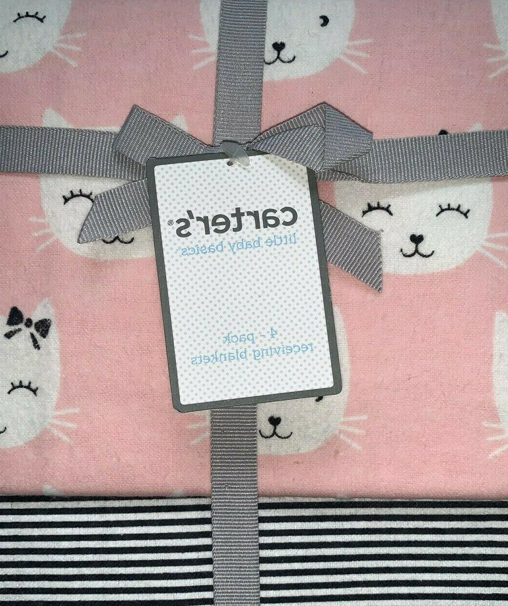 Carters Basic Pack Girl Receiving Blankets Pink Cat