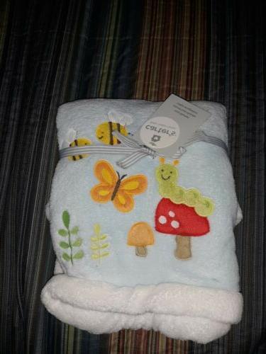 CARTERS BABY BLANKET BLUE BEE WORM BUTTERFLY MUSHROOM SOFT P