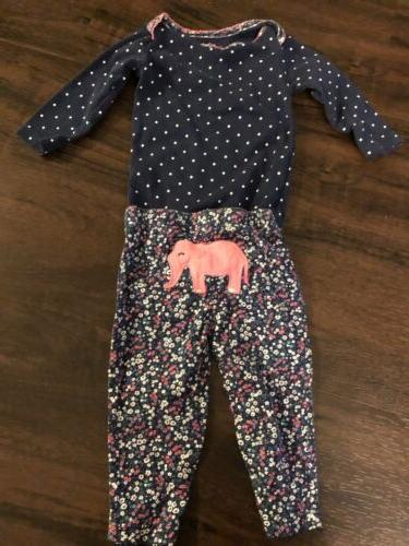 carters baby girl 2 piece outfit elephant