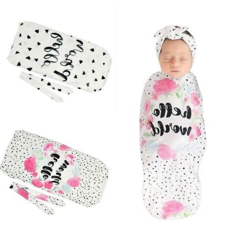 cartoon print headband and swaddle blanket set