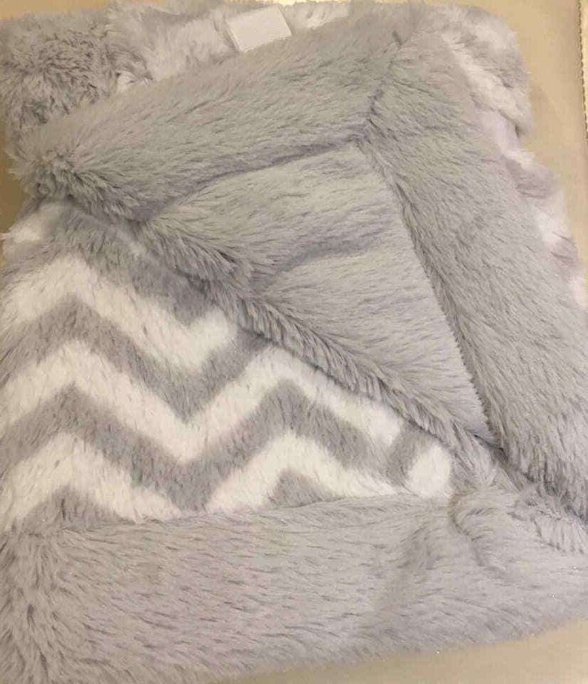chevron blanket gray white plush soft security
