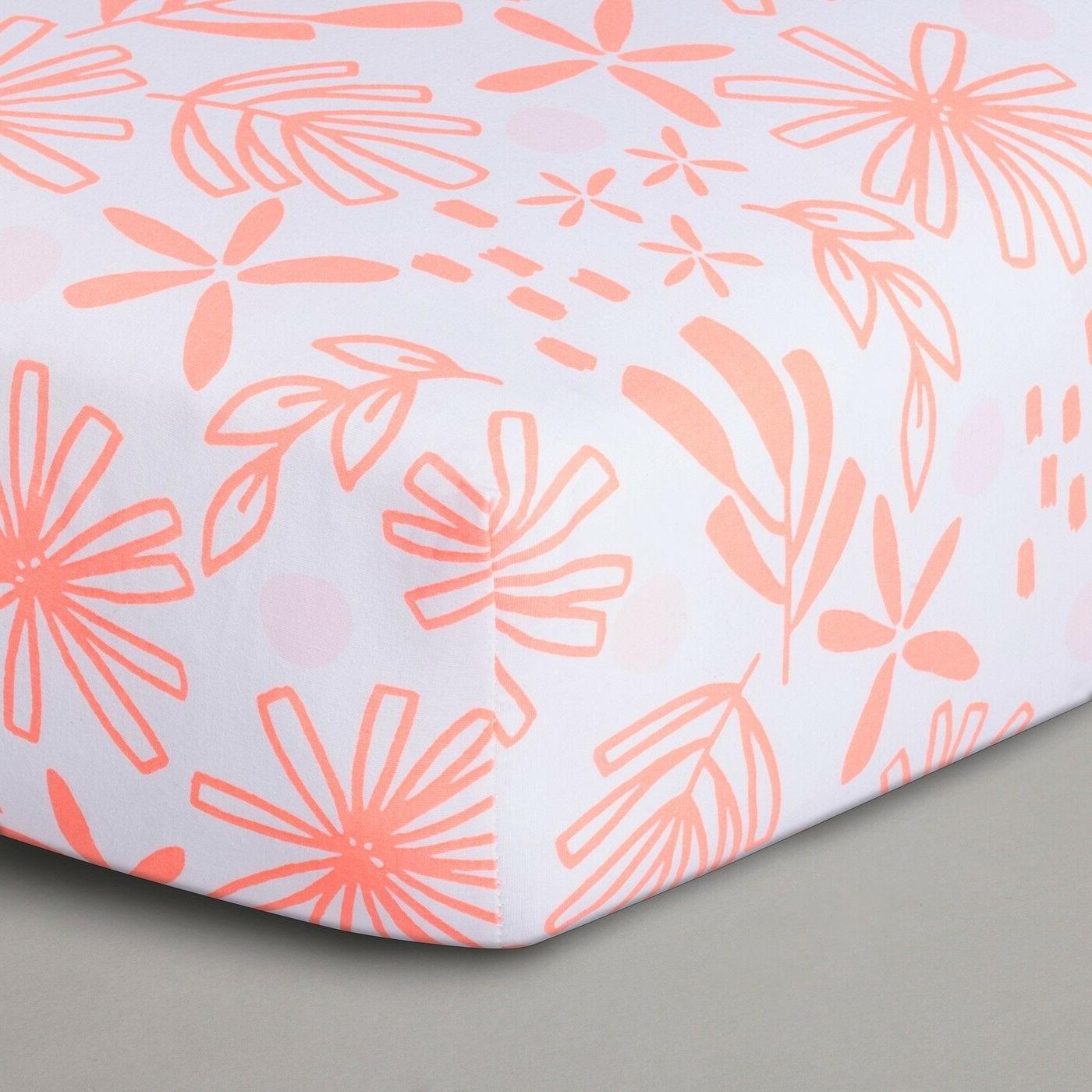 Cloud Island Coral/White Lemonade Baby Blanket & Crib Sheet Nwot