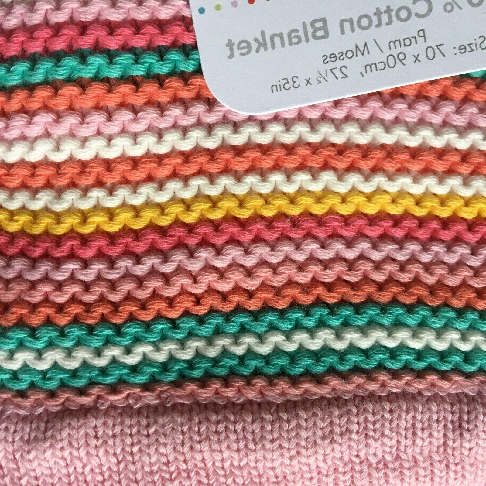 Silver Baby Blanket Coral Stripes