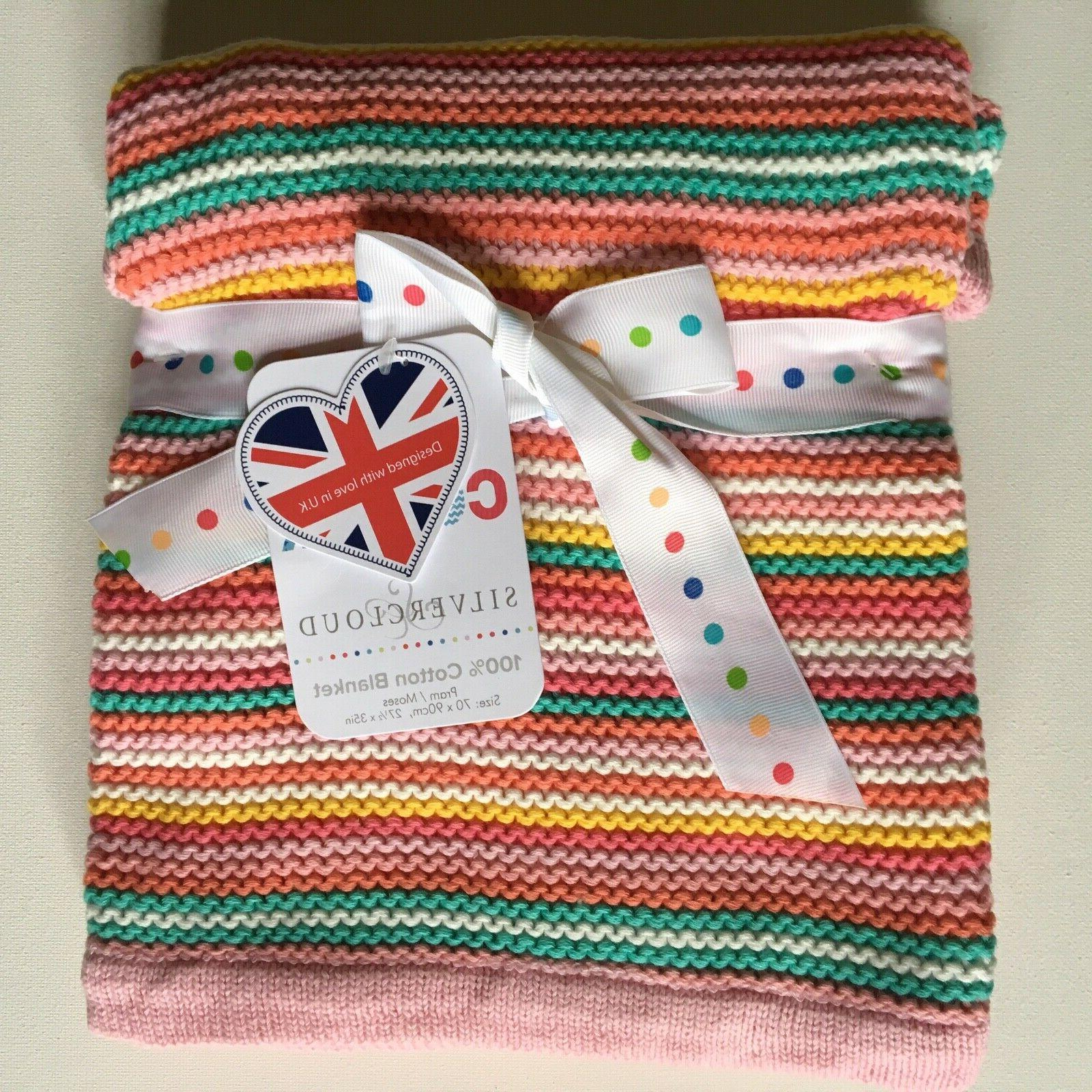 cotton knit baby blanket pink aqua coral