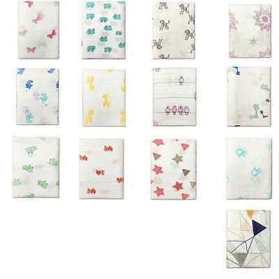 "Cotton Muslin Baby Swaddle Blanket Wrap Newborn 120x120cm 47"" 47"" Girl"