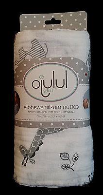Lulujo Baby Cotton Muslin Swaddle Blanket, Afrique, 47 x 47-