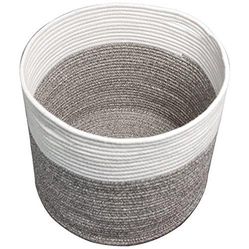 "Goodpick Large Cotton Rope Basket 15.8/""x15.8/""x13.8/""-Baby Laundry Basket Woven..."