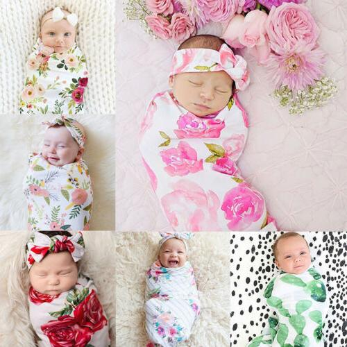 USA Newborn Baby Floral Swaddle Wrap Swaddling Sleeping Bag