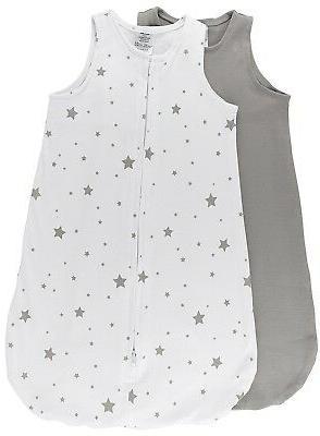 100% Cotton Wearable Blanket Baby Sleep Bag Grey Stars 2 Pac