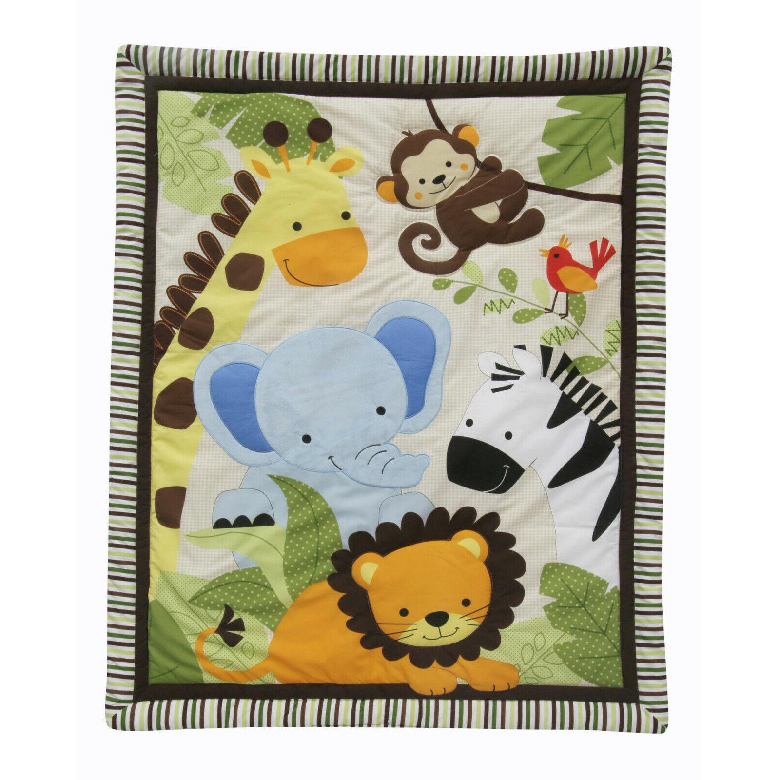 Crib Blanket Sheet 3-Piece Jungle