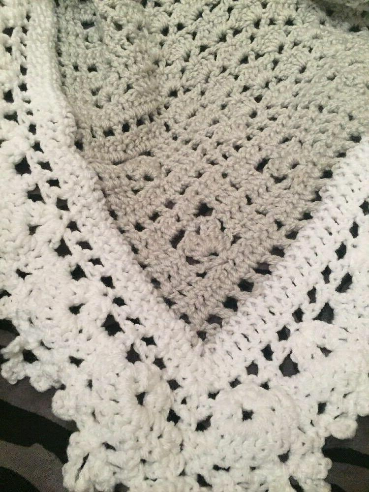 Crochet Blanket Afghan Gray And White a
