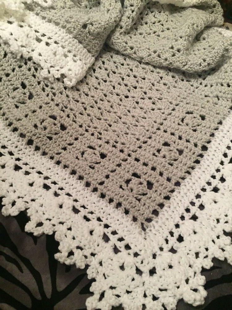 Crochet Dreams Baby Blanket Afghan White Help a
