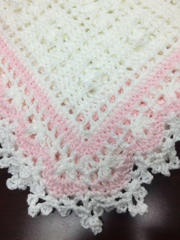 Crochet Baby Christening Blanket  White And A Hint Of Pink H