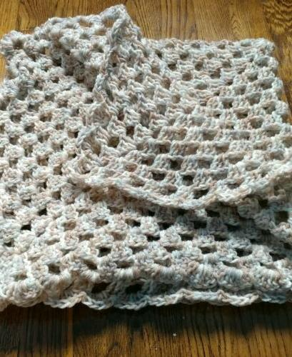 crocheted baby blanket car seat lap throw