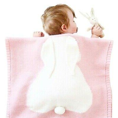 Soft Cozy Cute Cotton Knitted Blanket Rabbit Bedding Cover I