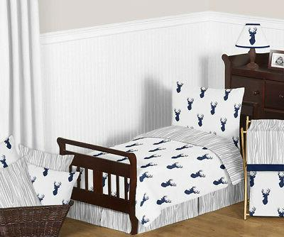 Sweet Jojo Deer Forest Navy Blue Gray Boys Toddler Comforter