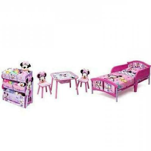 Delta Children Minnie Mouse Toddler Bed Table Chairs Toy Org