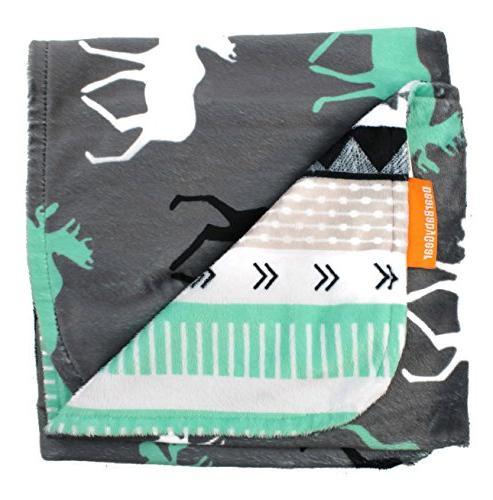 Dear Baby Deluxe Baby Blankets, Print Grey, Moose, Aztec