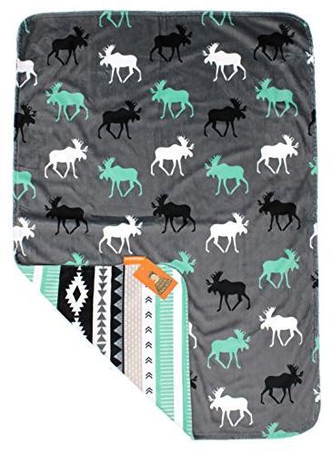 Dear Baby Gear Baby Blankets, Custom Print Grey, Moose, Minky