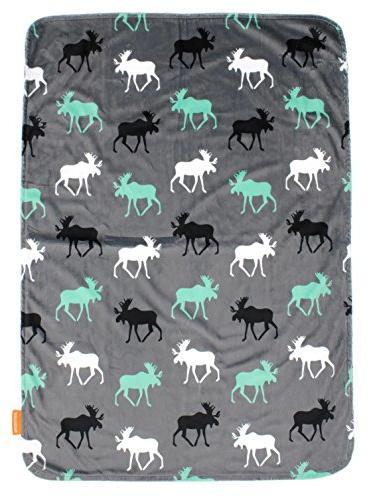 Dear Deluxe Baby Custom Minky Print Black, Moose, Aztec