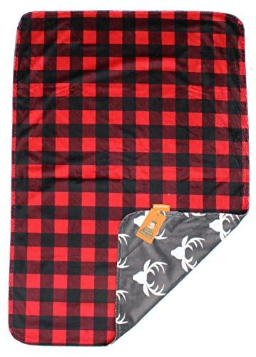 Dear Baby Deluxe Reversible Minky Red and Plaid